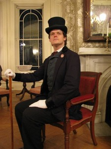 Steve Anderson as Thaddeus Stevens, in the Congressman's actual chair.  (GreatTalesLive.net)